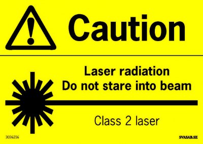 ADVARSELSKILT LASER, ENGLISH A6, DEKAL