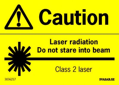 ADVARSELSKILT LASER, ENGLISH A7, DEKAL